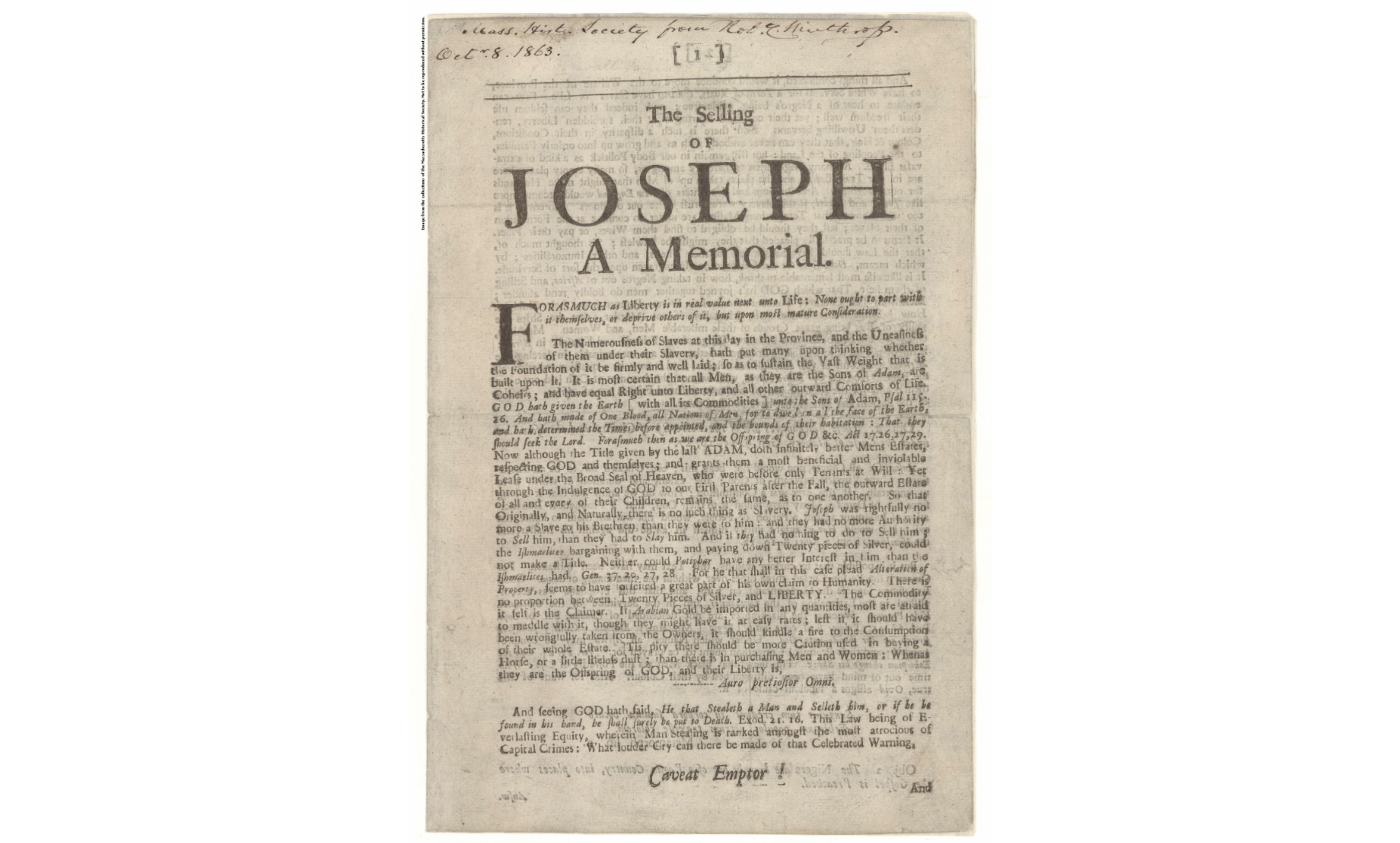 The Selling of Joseph: A Memorial